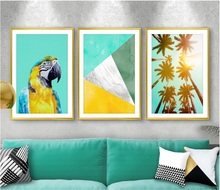 Nordic Parrot Palm Tree Canvas Art Posters Prints Painting Wall Pictures for Living Room Decor Unframed