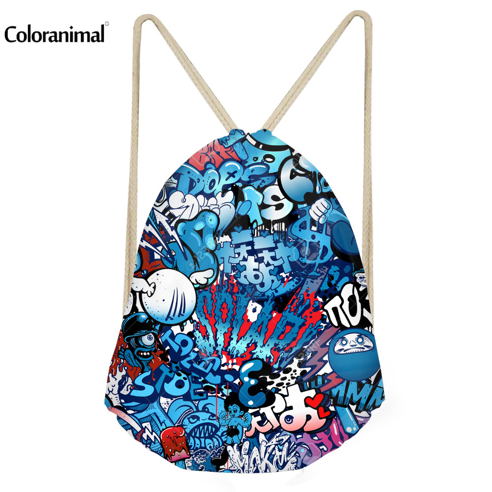 Coloranimal 2018 Cool Stylish Men Drawstring Bags 3D Blue Letter Printing Mochilas Backpack For Teenager Girls Male Trave Bags