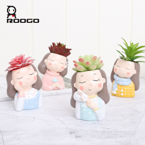 Image 5 - Roogo Cartoon Animal Zebra Decorative Flower Pot Resin Succulent Plant Pot Garland girl Bonsai Pot For Flower Cute Flowerpots