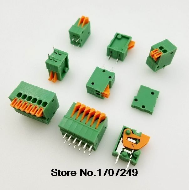 50PCS KF141V-2.54 KF141V 2P/3P/4P/5P/6P/7P-20P Can be spliced terminals 2.54mm Pitch Straight PCB Spring Teminal Block Connector p