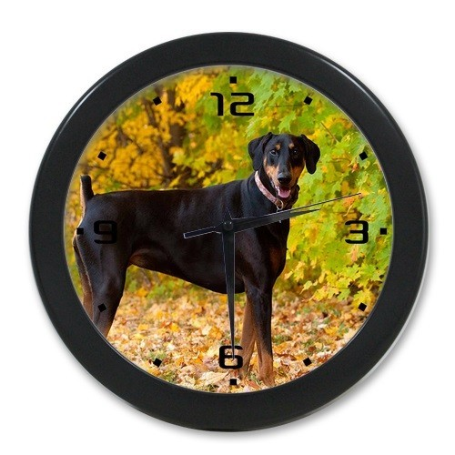 Home Decoration Bedroom Elegant Art Clock Customized Doberman Hunting Dog Wall Clock For Living Room Cafe Office 9.65 inch