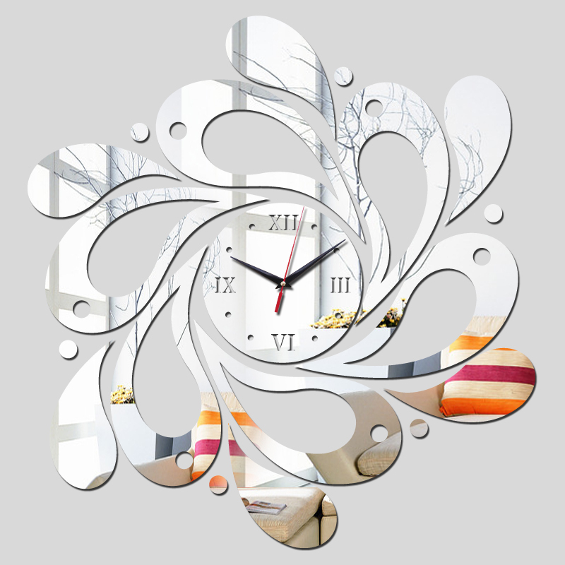 2015 free reloj de pared clocks shipping new real rushed clock watch home decoration Wall Stickers Mirror Acrylic Living Room(China)
