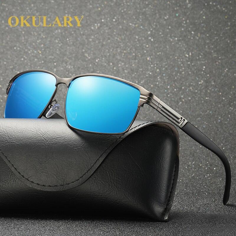 2018 Square Polarized Men Sunglasses Black Brown Blue Silver Color UV400 Mental Frame With Box Case