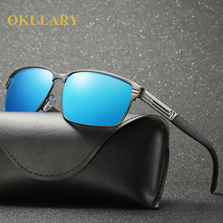 2018 Square Polarized Men Sunglasses Black/Brown/Blue/Silver Color UV400 Mental Frame With Box,Case