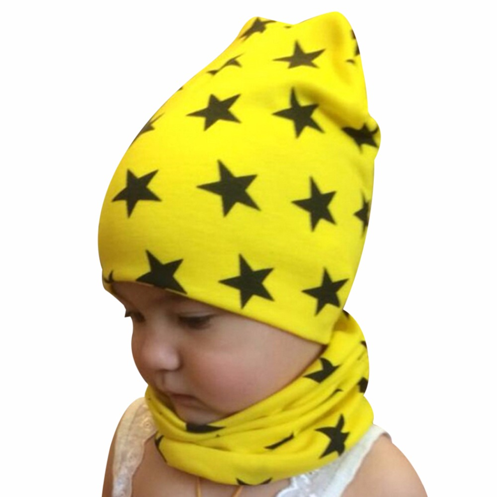 Autumn winter Knit Hats Crochet Scarves Hat Girl Boy Cap Kids Beanie Stars Hat Cotton  Children Collar Scarf baby cap child cap 1 piece winter autumn crochet baby hat girl cap unisex beanie star women cotton knitted hat 3 usages children scarf