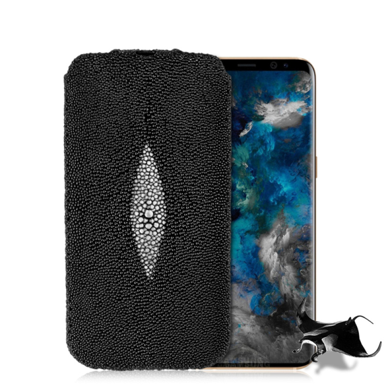 Fashion Genuine Pearl fish Stingray Skin Leather Case For Samsung Galaxy S9/ S9 Plus Luxury Leather Flip Pouch Bags Phone Cases