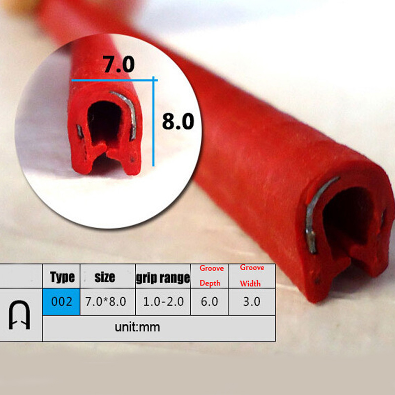 4m red color pvc car door window decorate edge sealing strip