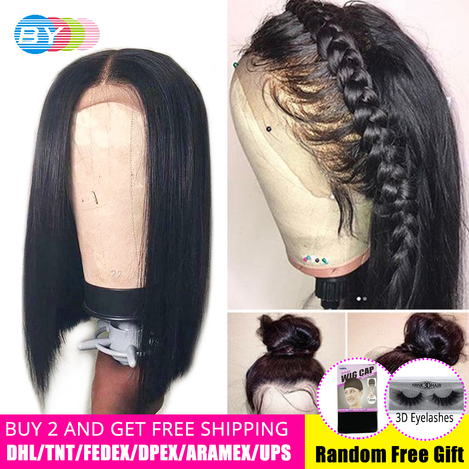 BY 4 4 Straight Lace Closure Wig Hd Lace Front Brazilian Human Hair Wigs Pre Plucked