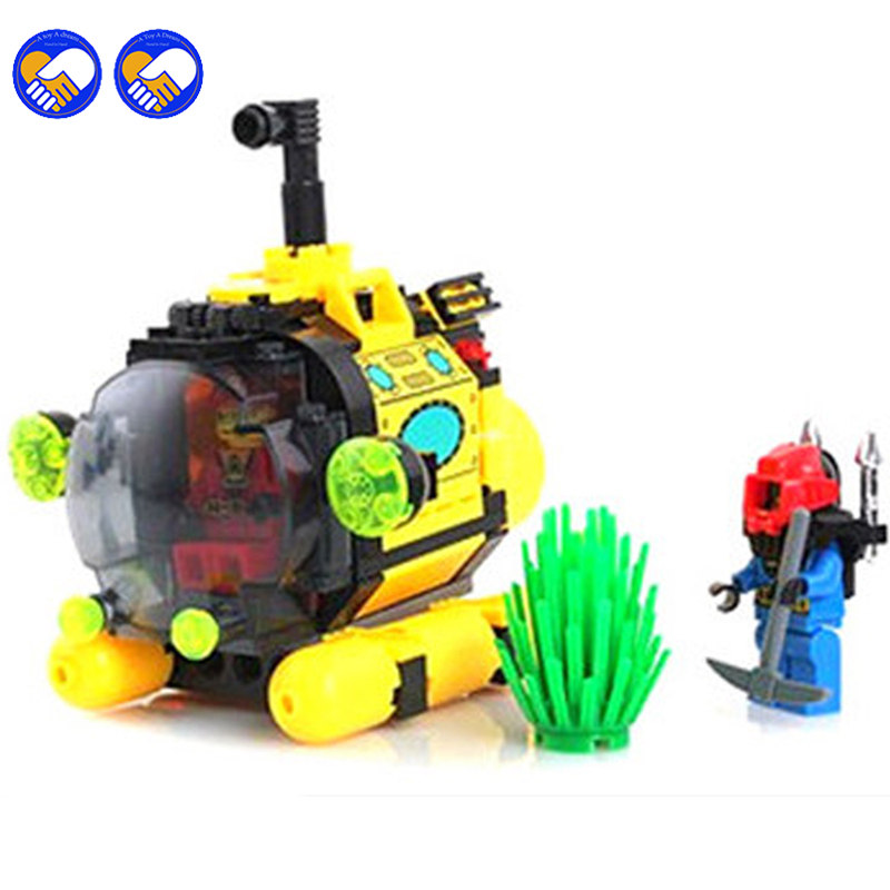 A toy A dream ENLIGHTEN 1213 City Series Treasure hunt tiny submarine Building Blocks Model Kids Toys Compatible lepin Children treasure hunt sticker book