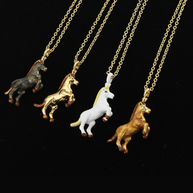 Luxury Jewelry horse long necklace four colour 2016 fashion