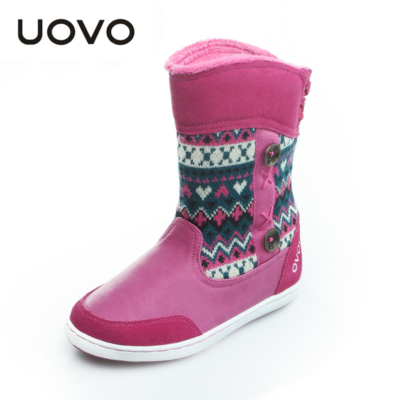 Childrens Boots Brand Winter Girls Mid-Calf Snow Waterproof Boots Big Girls Shoes Faux Fur Lining Kids Boots Warm UOVO 486d high quality kids boots girls boots fashion leather snow boots girls warm cotton waterproof girls winter boots kids shoes girls
