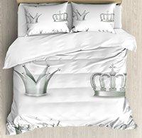 シルバー布団カバーセット異なる種類のアンティーク冠女王キングインペリアルテーマヴィンテージシンボル装飾4ピース寝具セット