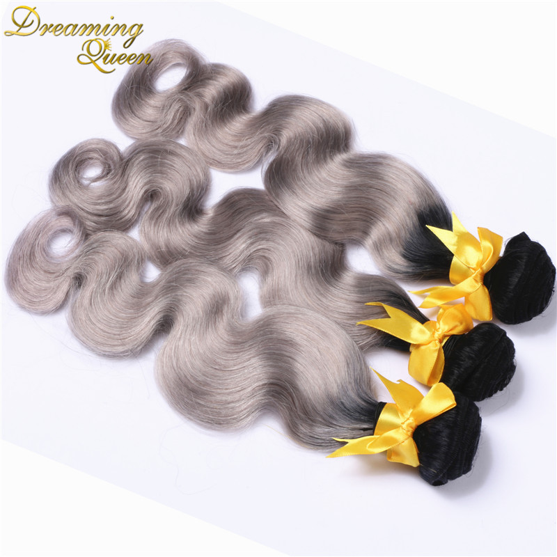 #1b/gray hair extensions body wave Peruvian virgin hair 3pc/lot Peruvian grey hair weave ombre gray hair free shipping
