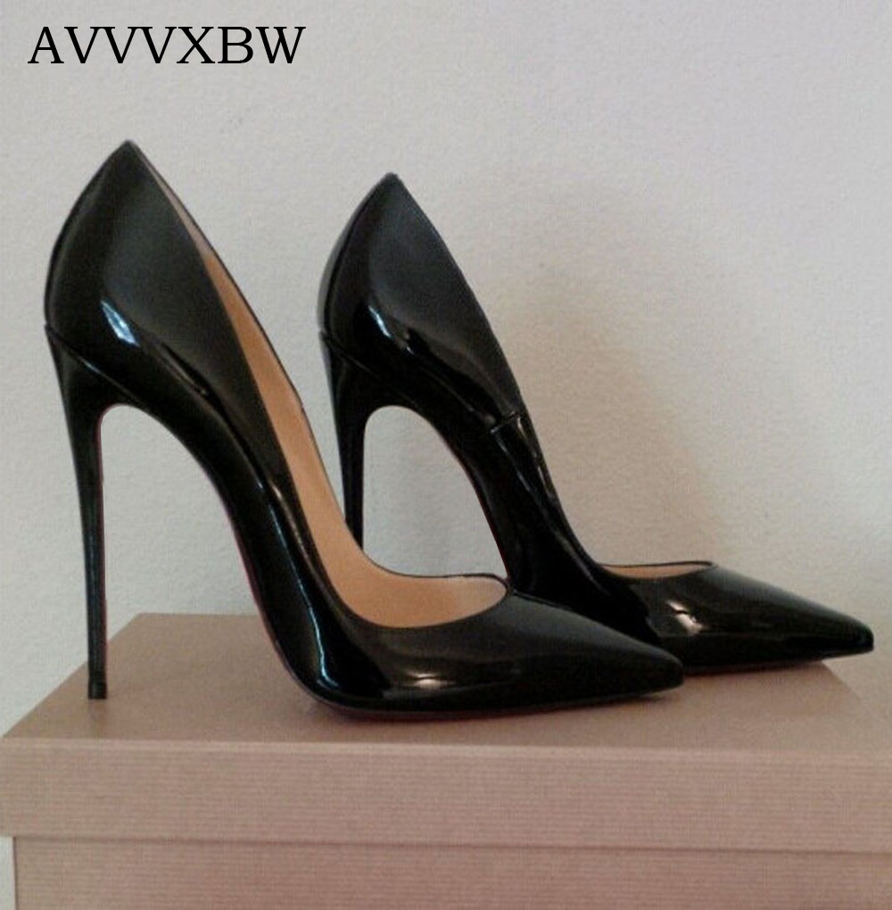 AVVVXBW 2017 Pumps High Heels Shoes Woman Pointed Toe Patent Leather Wedding Shoes Sexy Thin Heels Shoes Sapatos Feminino C512 sexy black leather pointed toe high heels pumps shoes newest woman s lace up thin heels shoes party shoes