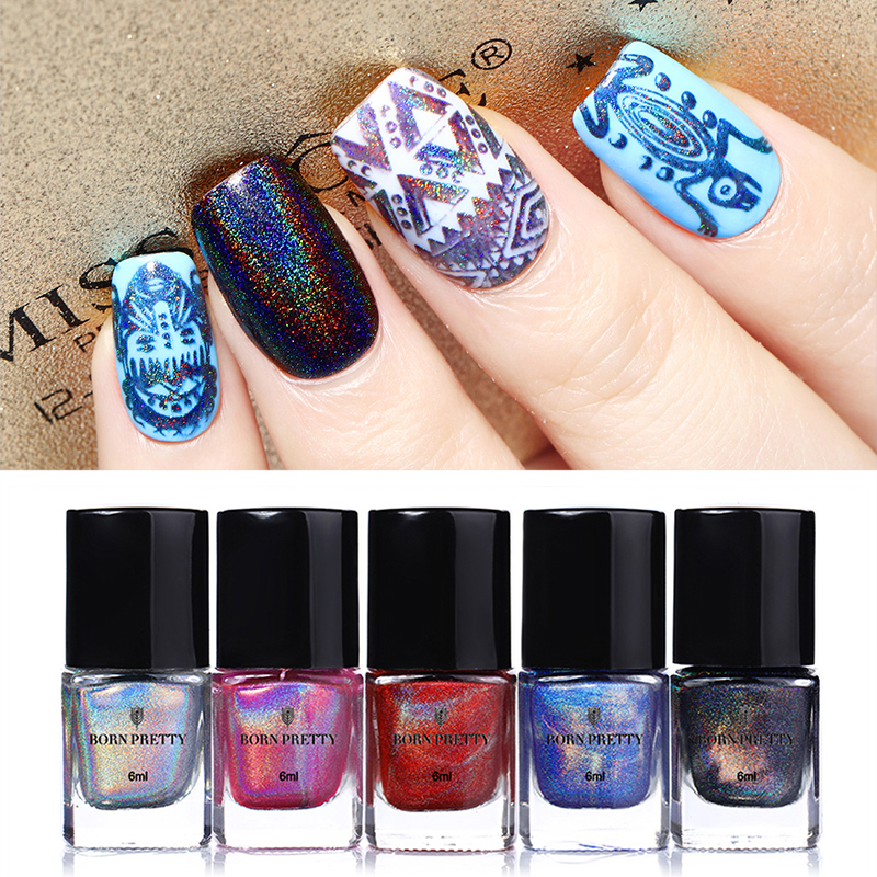 купить BORN PRETTY Holographic Stamping Polish Colorful Nail Art Plate Printing Polish Lacquer 6ml по цене 278.11 рублей