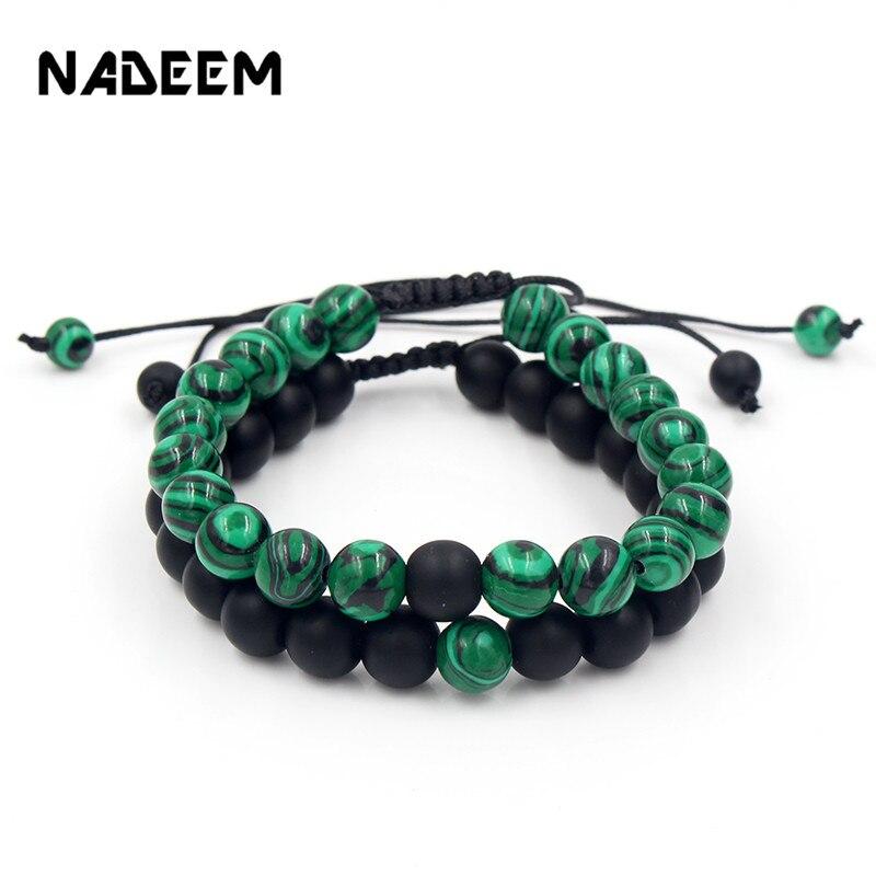 Купить 2 шт/компл набор браслетов из натурального камня 8 мм