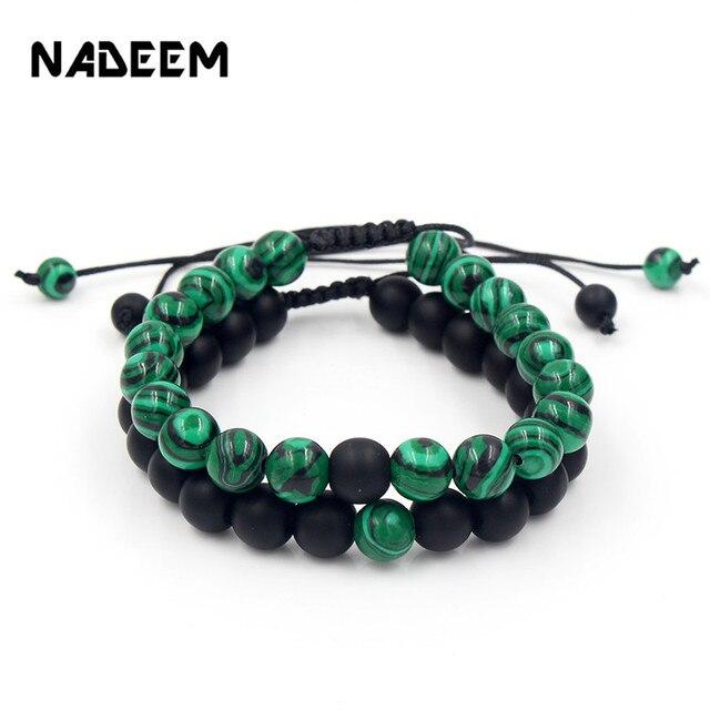 Newest 2Pieces/Set 8mm Natural Stone Beads Bracelets Sets Weave Braiding Macrame Couple Bracelet for Men & Women Yoga Jewellery