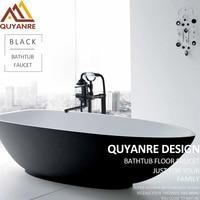 Quyanre черный матовый Для ванной Ванна напольные кран creamic Handshower вращения Длинный Носик Одной ручкой смеситель Для ванной душ