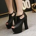 2017 de Verão Da Europa Sexy Menina de Couro Preto PU Malha de Cristal Zipper Plataforma de Salto Alto Mulheres Sandálias Peep Toe sapatos de Casamento Mulher sapatos