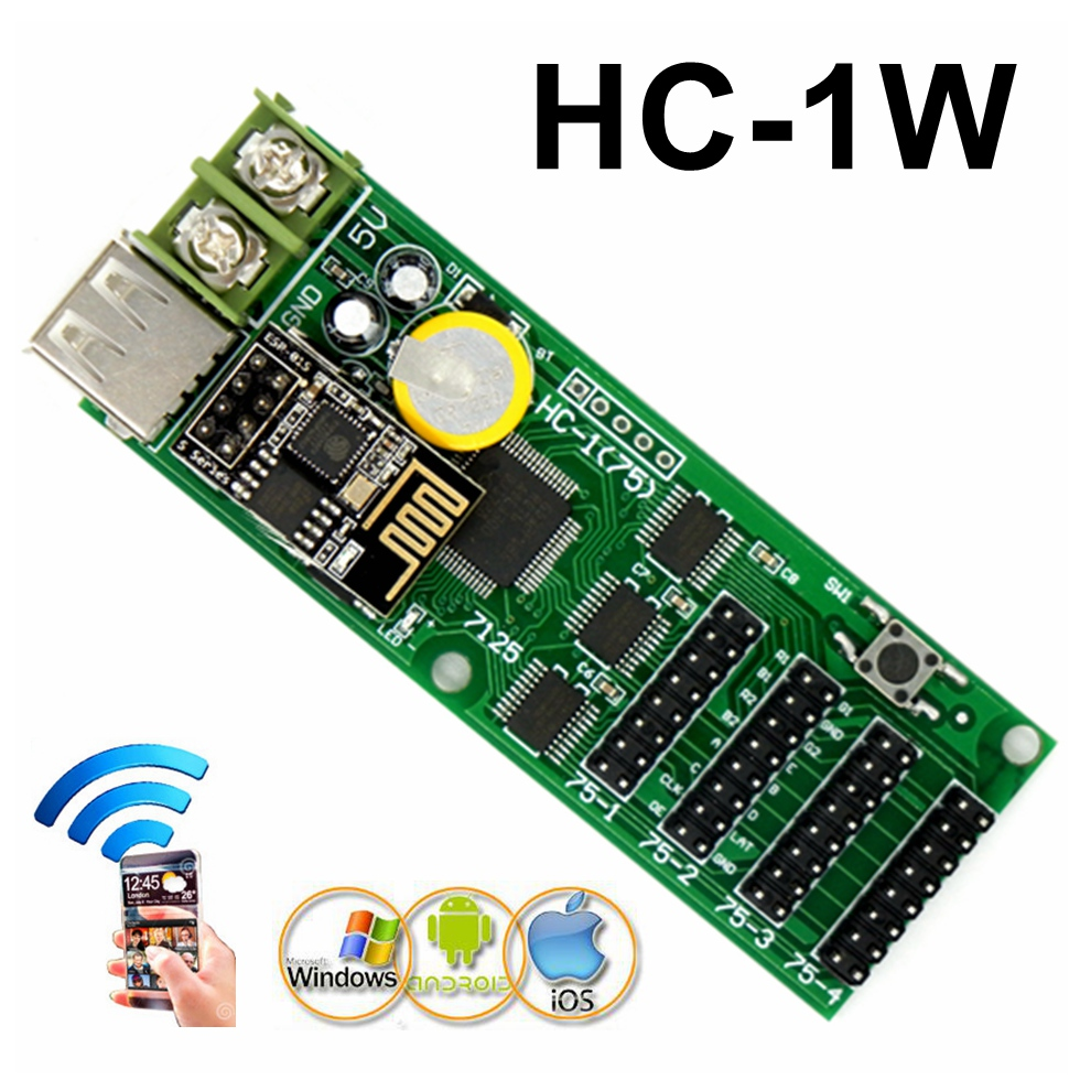 HC-1W USB Full Color LED Control Card Wifi/android APP Support Display Asynchronous Led Controller With 4*hub75b 544*48 Pixels