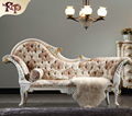 antique hand carved wood furniture - Champagne ox leather chaise lounge Europe noble style