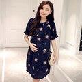 2016 новый стиль цветок цвет материнства шифоновая блуза вне Материнства Юбка