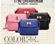 Fashion leather shoulder handbag lattice stitching cross body small bag flap closure