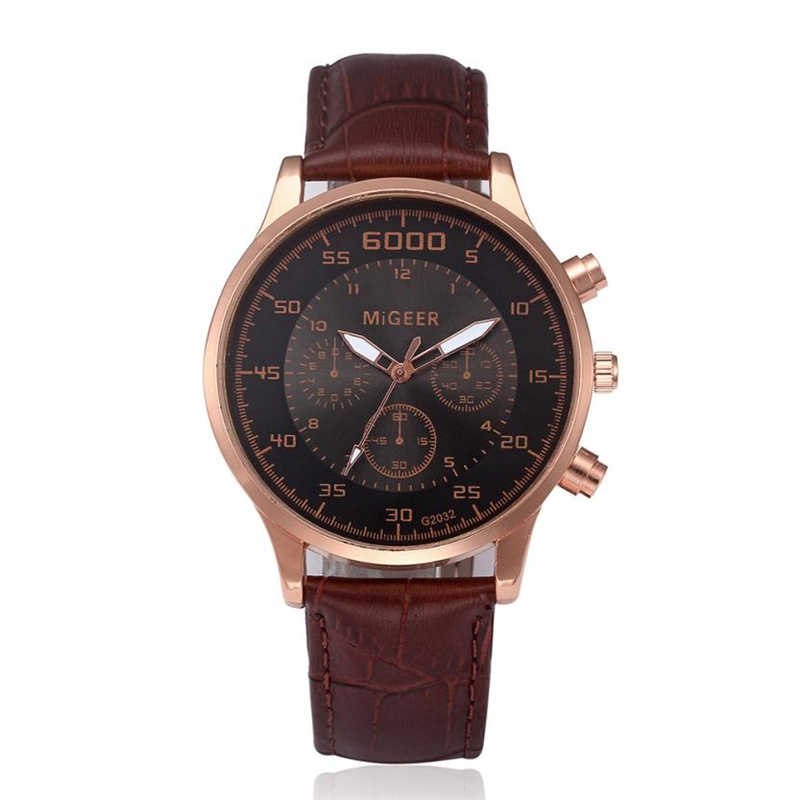 MIGEER Vintage Men's Watches Three Eyes Luxury Leather Band Watch Analog Alloy Quartz Wrist Watch Bracelet relogio masculino 40