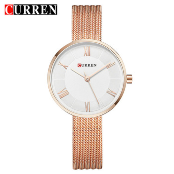 Curren Women Watches Top Brand Luxury Gold Mesh Strap Bracelet Quartz Watch Lady Fashion Dress Wristwatch Relogio Feminino 9020 дамски часовници розово злато