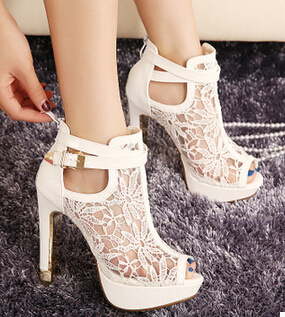 New Fashion Women High Heels White Lace Flowers Ladies Summer Shoes Buckle  Strap Peep Toe Women 7110a5c225fc