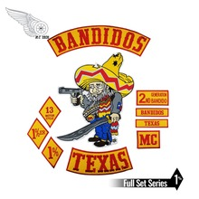 Bandidos Bikers Rocker Patches Mc Motorcycle Biker Texas Jacket Patch Set Embroidered Iron On Back Vest Club Emblem Iron On reapermagic 1% mc iron on patch motorcycle biker large full back size embroidery patch for jacket vest rocker custom