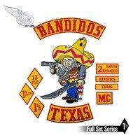 Bandidos Bikers Rocker Patches Mc Motorcycle Biker Texas Jacket Patch Set Embroidered Iron On Back Vest Club Emblem Iron On
