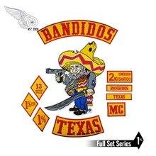 مجموعة رقعات راكبي الدراجات النارية من Bandidos لراكبي الدراجات النارية في تكساس سترة مطرزة من الحديد على الظهر سترة نادي شعار حديد على