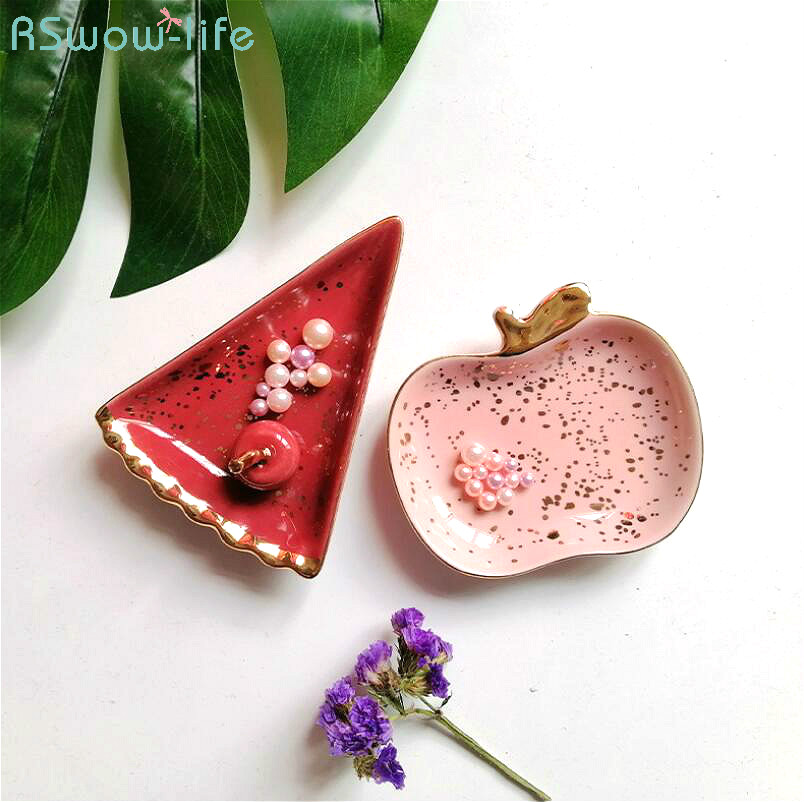 Nordic Style Creative Cute Apple Watermelon Ceramic Small Jewelry Disk Ring Necklace Receiving Plate Trinket Dish Tray