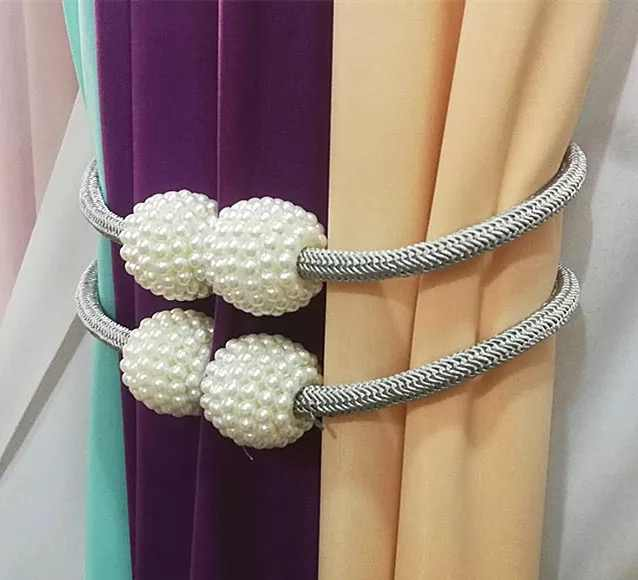 2019 New Beige Magnetic Pearl Ball Curtain Tiebacks Tie Backs Holdbacks Buckle Clips Accessory Curtain Tieback