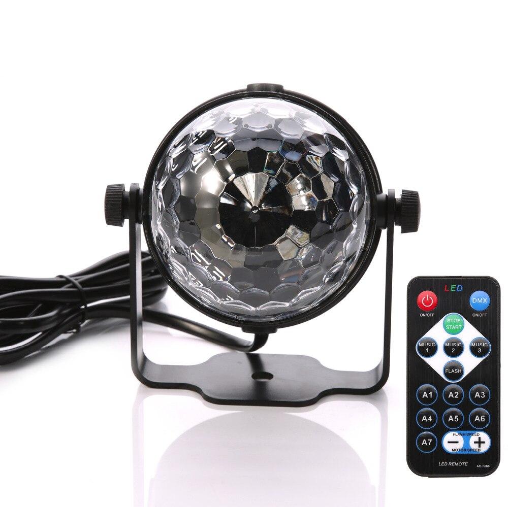 3W RGB Remote Led DJ Stage Light Magic Crystal Rotating Ball Sound/Auto Control Stage Lamps Free Shipping aosl w883 5 e27 8w 640lm 7 led rgb white auto rotating crystal stage light white ac85 260v