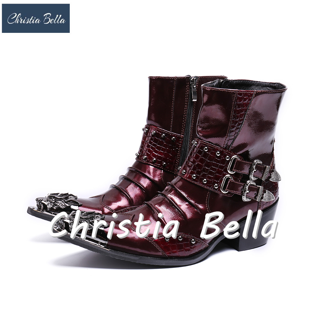 Christia Bella Men Brand Designer Dress Boots Genuine Leather Winter Men Mid-Calf Boots Fashion Motorcycle Cowboy Military Boots plus size 2016 new fashion genuine leather formal brand man mid calf boots men s winter pointed toe rivets cowboy shoes fpt451