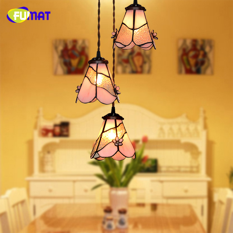 FUMAT Stained Glass Pendant Lights Pink Flower Glass Art Shade Lampe Living Room Light Fixture Kitchen Dining Room Pendant Lamp fumat stained glass pendant lights small hanging glass lamp for bedroom living room kitchen creative art led pendant lights