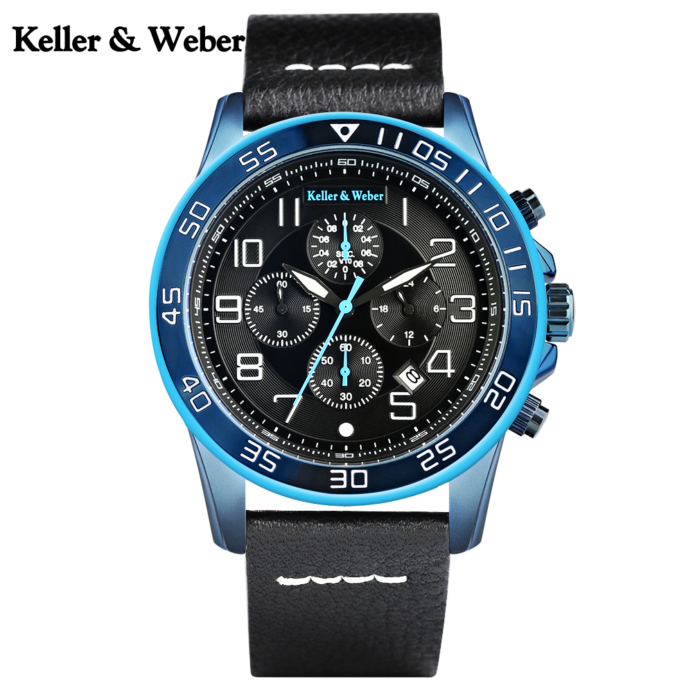 цена на Keller & Weber Chronograph 3ATM Men Wrist Watch Casual Date Display Water Resistant Genuine Leather Band Quartz Watches Reloj