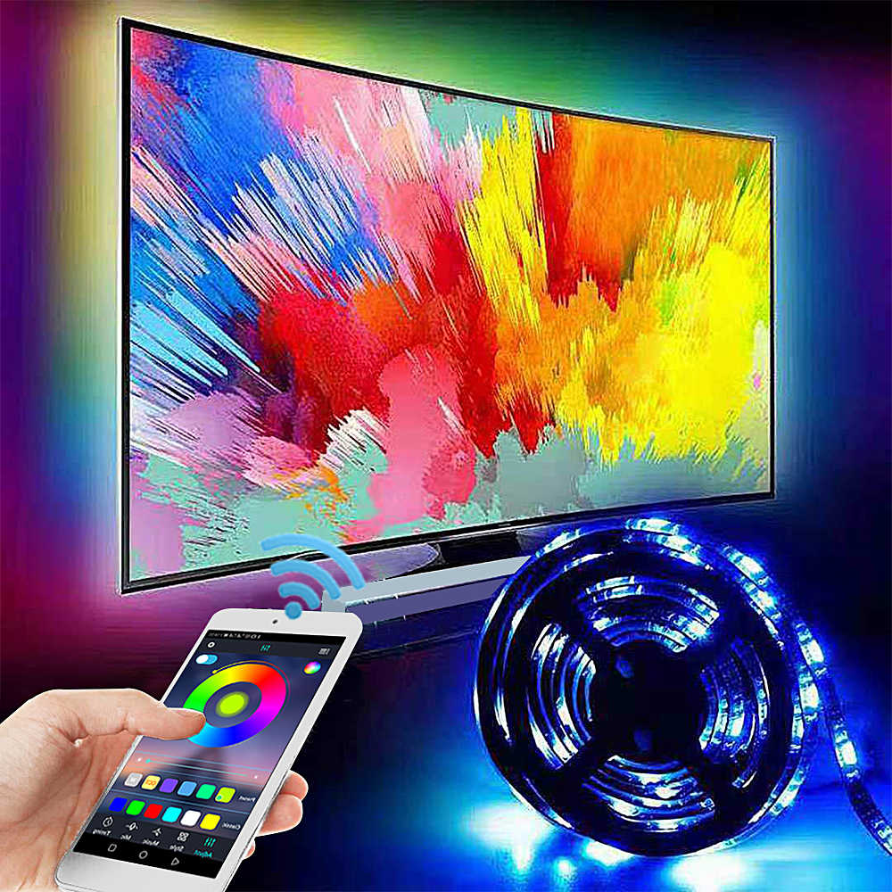Светодиодная лента RGB с подсветкой для телевизора, USB, 5050, 5 В, светодиодный s-струнное освещение с Bluetooth контроллером для ТВ, ПК, декорация автомобиля, Диодная лента, 3 м/5 м