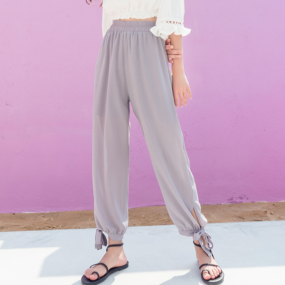 Double-layer chiffon bloomers   pants   women 2019 summer loose high waist beam   pants   candy color side slit casual   wide     leg     pants