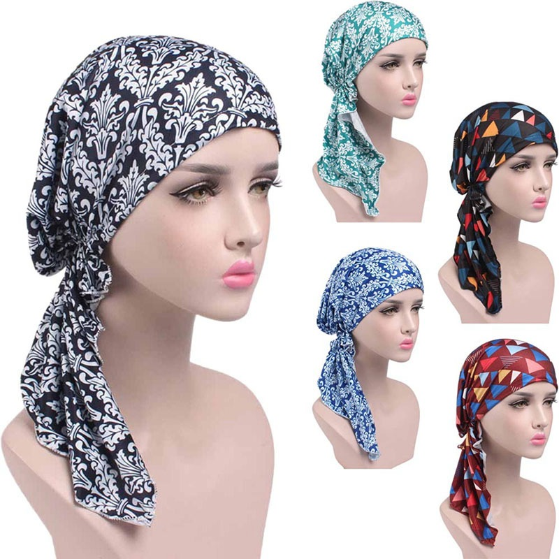 COCKCON 2019 NEW Fashion Women Flower Muslim Ruffle Cancer Chemo Hat Beanie Scarf Turban Head Wrap Cap F2