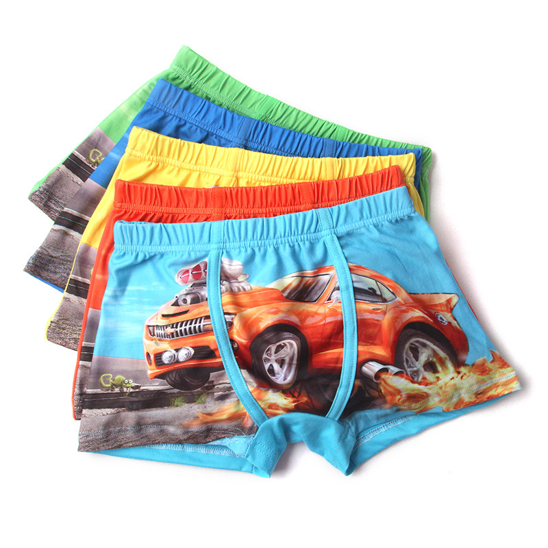 adiasen Boys 5-Packs Cartoon car cotton Underwear Hipster Knickers Briefs Boxer print