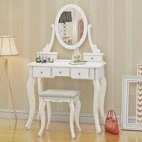 Деревянный туалетный столик макияж стол с стул овальное зеркало 5 ящиков белая сосна дропшиппинг