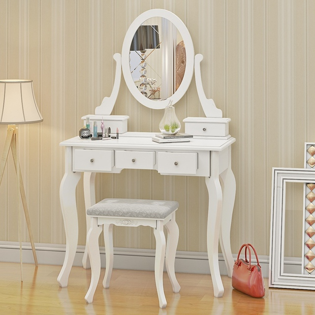 Wooden Dressing Table Makeup Desk With Stool Oval Mirror 5 Drawers White Pine Dropshipping