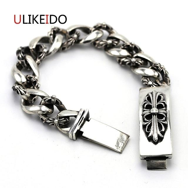 100 Pure 925 Sterling Silver Bracelets Men Flower Vintage Hand Chain Heavy Thai Jewelry