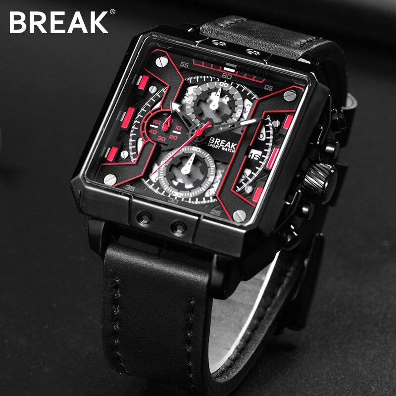 BREAK для мужчин Элитный бренд Кварцевые спортивные часы пояса из натуральной кожи хронограф подарок наручные часы для Relogio Masculino