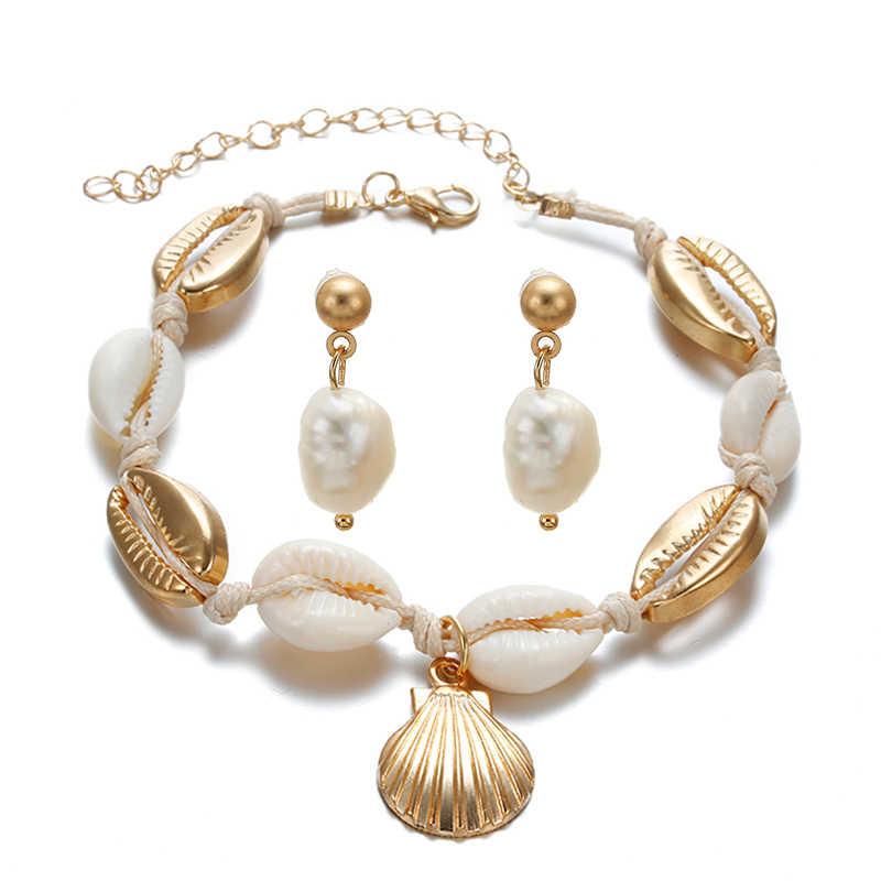 Moda novedosa, pendientes con diseño de concha de mar para mujer y tobillera, conjunto de pendientes colgantes de moda de Color dorado para mujer, conjunto de joyas para la playa