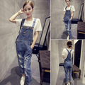 2016 summer fashion woman cute denim strap loose bead one piece overalls blue jumpsuits & rompers women jeans overalls