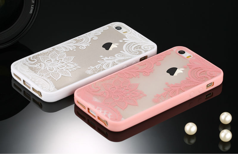 Sexy Retro Floral Phone Case For Apple iPhone 7 6 6s 5 5s SE Plus Lace Flower Hard PC+TPU Cases Back Cover Capa For iPhone7Plus 5